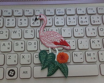 Pink Flamingo with leaf Applique Embroidered Iron on Patch