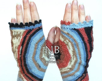 Hand Knitted Fingerless Gloves, Blue, Multicolor, Clothing and Accessories, Gloves & Mittens, Gift Ideas,For Her, READY TO SHIP