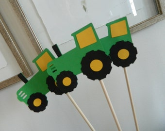 6 Green Tractor Centerpiece Sticks, Tractor Party