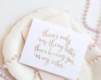 "Will You Be My Maid of Honor, Will You Be My Bridesmaid Cards - Card for Sister - Gold Foil, Rose Gold Foil ""Dreamy"""