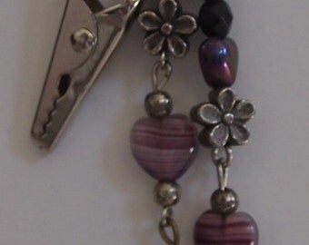 0017  Hair clip, purple and silver tones