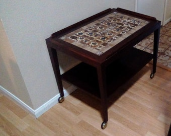 Pair of Brazilian rosewood tables with Royal Copenhagen tiles