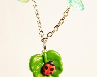 Handmade Polymer Clay Nature Ladybug Leaf Necklace