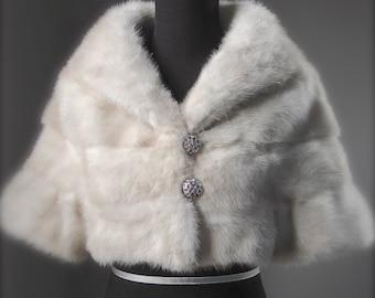 Ultimate Luxury Gift Or Wedding Bridal Formal Accessory/Gorgeous Hollywood Sandy Cream Blonde Mink Fur Bolero/Vintage Jacket Coat/Sleeves