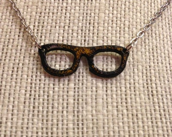 "18"" Black&Yellow Glasses Necklace"