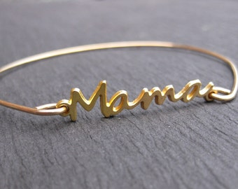 Mama Bracelets, 14k Gold Mom Bangle Bracelet, Mothers Days Jewelry, Gift for Mom Jewelry, Special Gift, Mama