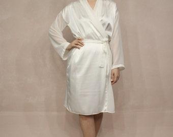 Satin Bridal Robe, Chiffon Robe, Off White Robe, Lace Robe, Bride Robe, Bridal Dress