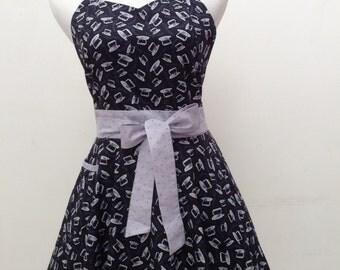 Retro apron|vintage apron|  sweetheart style apron|FREE SHIPPING
