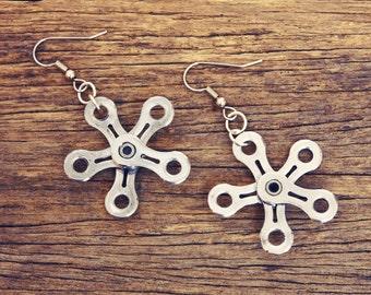 Snowflake Bike Chain Earrings - Bicycle Jewelry - Bike Gifts - Bicycle Earrings - Bike Chain Jewelry