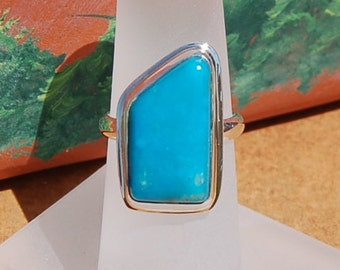 Turquoise  Silver Ring size 5-1/4