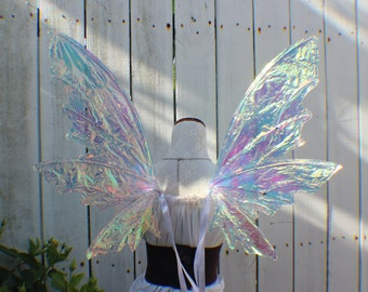 Large White Iridescent 6 Wing Fairy Woodland Wings