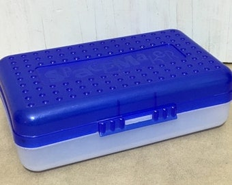 Vintage 90s Spacemaker Pencil Box in Blue and Clear / Made in the USA
