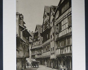 1920s Antique Alsace Print of Strasbourg, French Medieval Town Gift, France Decor, Available Framed, Bas-Rhin Art, Old Architecture Picture