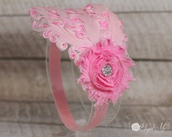 White and Pink Feather Headband - Pink Feather Headband - Baby Headband- Adult Headband- Photo Prop