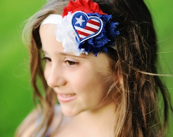 Independence Day Headband - 4th of July Headband - Red White and Blue Headband - Patriotic Heart Headband - Baby Headband - Toddler Headband