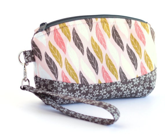 Pink and Gray Small Wristlet, Leaves and Flowers Clutch Purse, Pink, Yellow and Gray Fabrics, Handmade