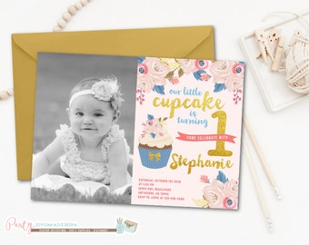 Cupcake Birthday Invitation, Cupcake Invitation, Floral Cupcake Invitation, Floral Cupcake Birthday Invitation, Gold Cupcake Invitation
