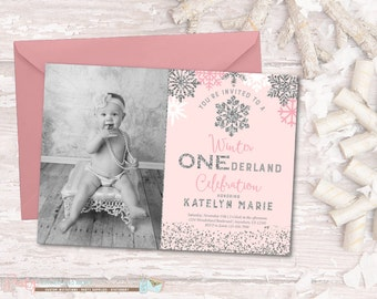 winter onederland  etsy, Birthday invitations