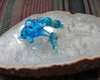 Lampwork Glass Dolphin Dust Plug/Cell Phone Charm