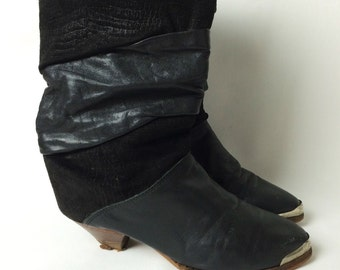 Vintage 70s Boots/ 70s Zodiac Black Leather Slouchy Boots/ 6