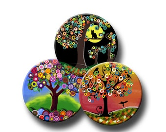 FUNKY TREES - Digital Collage Sheet 2.5 inch round images for Pocket Mirrors, Magnets, Paper Weights - Instant Download #60.