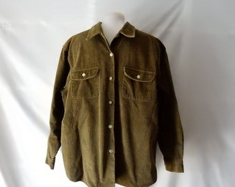 Sz 18 20 Corduroy Shirt Top Blouse Jacket - Plus Size 1X - Olive Green - Wide Wale - Button Down - Andrew's Jeans - Modest - Warm