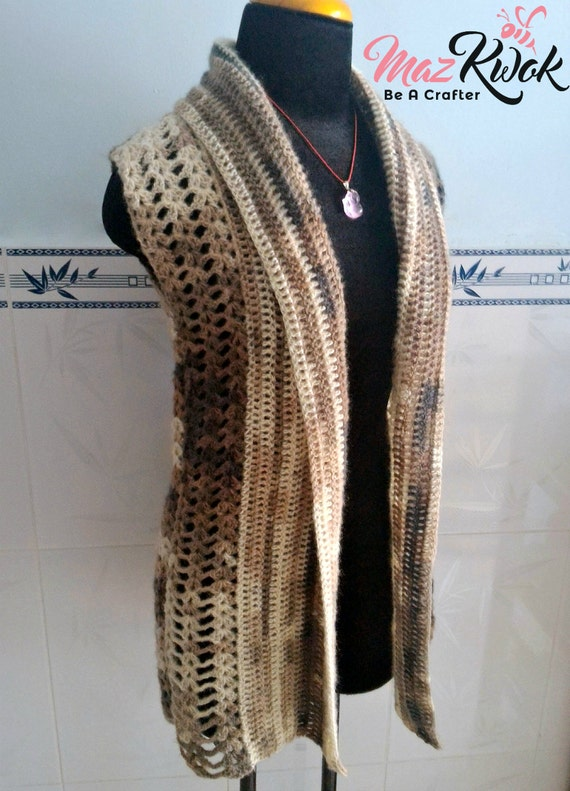Crocheted Rustic Fall vest - free worldwide shipping