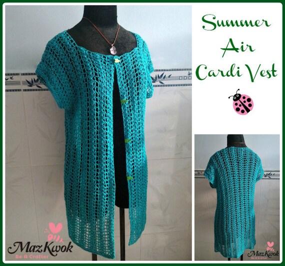 Turtleback Jacket Free Pattern Crochet : Summer Air cardi vest pdf crochet pattern size S 3XL