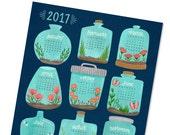 Sale - Half off - 2017 wall calendar - 2017 calendar poster - terrarium calendar - kitchen calendar -  office calendar