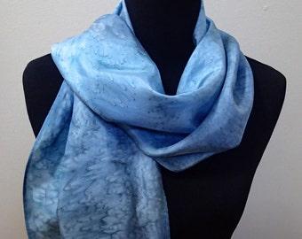 Handpainted silk scarf in blues
