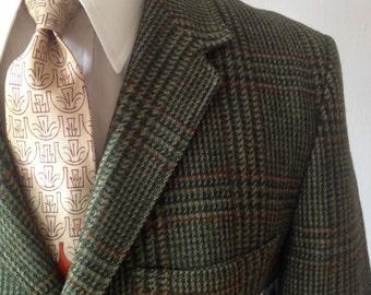 Vintage 60s Green Glen Plaid Wool Blazer by Sears Size 40S