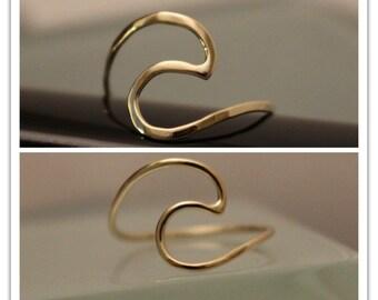 10k Wave Ring, 14k Wave Ring, 14k thumb ring, 14k Knucke ring, 14k surfer ring, Ocean ring, 14k Ocean ring, 14k midid ring, Surf ring