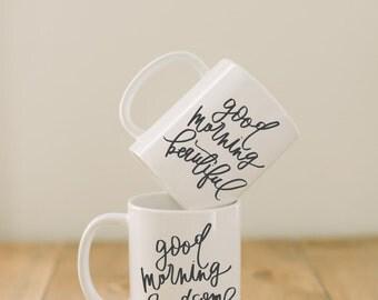 Keramiktasse, Set von 2 Good Morning schönen & Handsome, Hochzeitsgeschenk, Jungvermählt, paar, Engagement, Hochzeit Dusche, Jubiläum