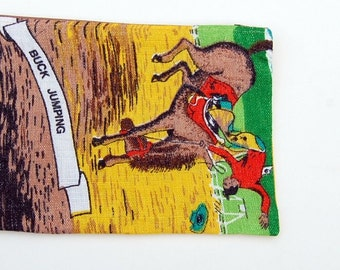 Zipper Pouch: Buck Jumping Horse Rodeo Cowboy (gold, red, green) Australia Vintage Linen Tea Towel