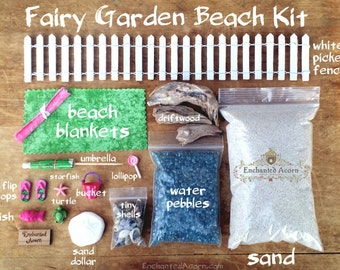 Green Beach Fairy Garden Kit Large   Miniature Beach Garden Kit Fairy  Accessories Mini Beach Wedding