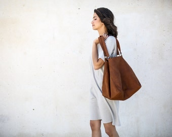 Brown Leather Sac Bag,Women Weekend Bag,Brown Tote Leather Bag