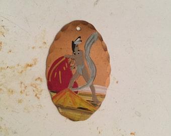 Vintage Souvenir Pendant/ 1940s/ Native American Indian pocket watch fob/ fob/ copper metal/ hand painted/ vintage supplies LA