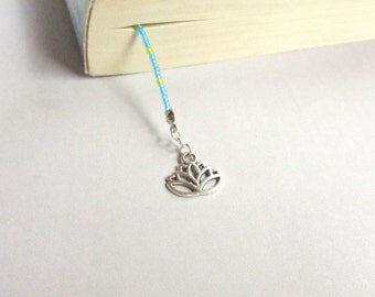 Book Thong, Back to School, Handmade Book Thong, School Supply, Long Book Thong, Unique Book Thong, Lotus Charm, Unique Bookmark
