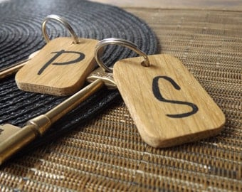 Personalised Initial Keyring - Oak Wood Personalised Keyring - Add any initial - Keyring gift - Wooden Keyring - Personalised gift