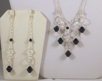 """Sterling Silver Jet Black Swarovski Crystal Jewelry Set - 18.75"""" Necklace"""