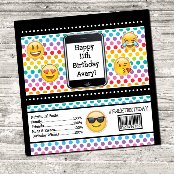 Smiley Emoji Birthday Candy Bar Wrapper