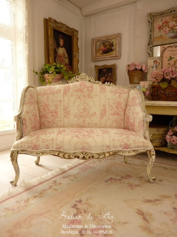 Miniature French Pink Toile De Jouy Shabby By Atelierminiature