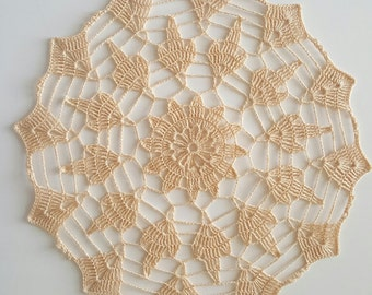 Handmade lace crochet doily, ecru, off white or beige  10.5 inches