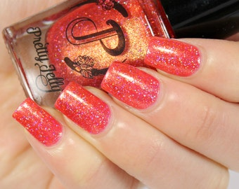 Coral Orange Glitter Nail Polish, Holographic Glitter, Indie Nail Lacquer, Shimmer, Custom Summer Nail Color, Vegan Nail, Pretty Jelly, NANA