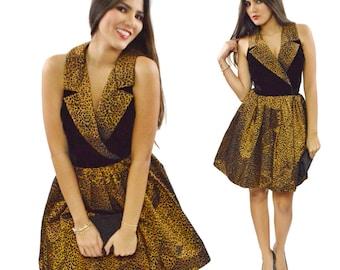 Vintage 80s UR New York Cheetah Print Velvet-Like Cocktail Dress