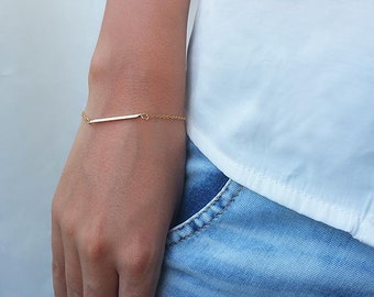 Gold Bar Bracelet, Simple Gold Bracelet, Minimal Jewelry, Modern Bracelet, Bracelets For Women, Everyday Bracelet, Dainty Gold Bracelet