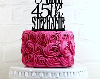 Happy 45th Birthday Cake Topper Personalized with Name and Age