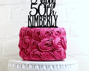 Happy 50th Birthday Cake Topper Personalized with Name and Age