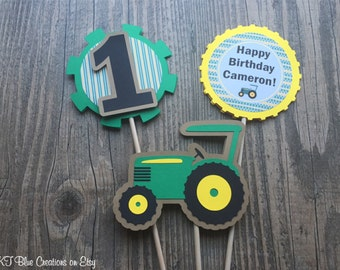 Tractor Centerpieces - Set of 3 - DOUBLE-SIDED - Green, Yellow, Kraft & Black - Birthday, Tractor/Farm theme birthday, rustic style