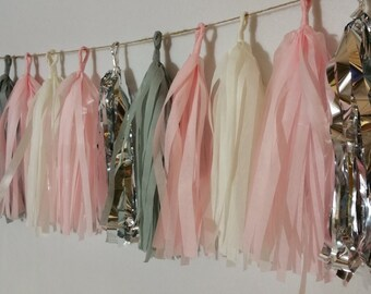 SHIPPED NEXT DAY, 20 Tassel Blush Pink and Gray Tissue Tassel Garland, Wedding Decorations, It's A Girl, Baby Shower, Fringe, Streamers, Pom